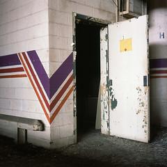 pinstripes (Mr Kevino) Tags: 120 tlr fuji provia slide e6 detroit factory abandoned door pinstripes
