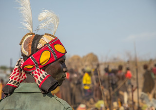 Warrior during the proud ox ceremony in Dassanech tribe, Turkana County, Omorate, Ethiopia