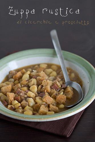 Zuppa di cicerchie e prosciutto