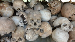 Skulls preserved in the stupa at Cheung Ek