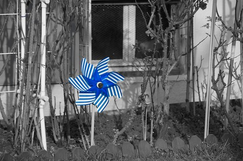 Kleines, blaues Windrad