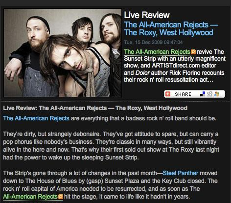 The All-American Rejects Review December 14/15, 2009
