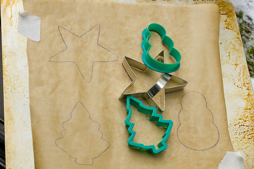 cookie cutter used as stencils