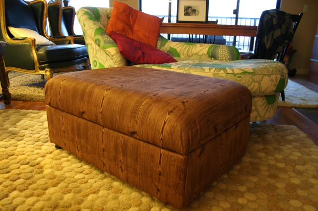 Wood Grain Ottoman