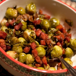 Braised Brussel Sprouts with Balsamic Vinegar & Bacon Lardons