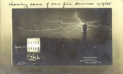Electric storm - photographed midnight July 9.06, Edmonton, Alta.. [Edmonton: c1906. - Prairie Postcards PC006393