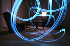 We Interrupt This Program. (Barry Vargas) Tags: longexposure blue art night living photo tv ray guatemala room cellphone lighttrails flickrgt