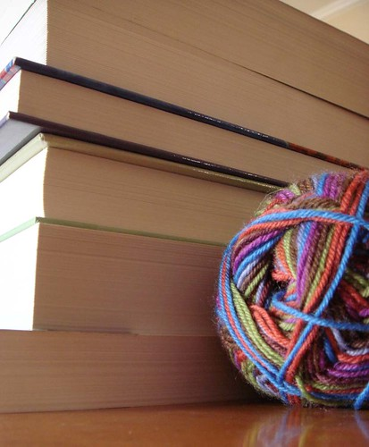 books and sock yarn