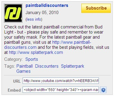 YouTube Screenshot - Bud Light Paintball Airstrike - Paintball Discounters More Info - 011010