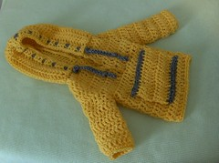 Baby sweater with hood (ruali) Tags: winter boy baby cute girl yellow silver cozy sweater warm handmade crochet gray yarn etsy ruali