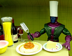 Cooking with Kang (Cat Juggling) Tags: cheese redwine marvellegends spaghetti rement italianfood kang kitchenlittles kangtheconqueror cookingwithkang