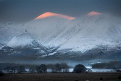 Skiddaw (gms) Tags: pink sunset england orange mist mountain lakedistrict peak cumbria skiddaw
