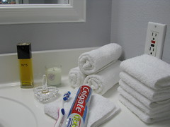 The first morning... (nbklx17 (Sandy)) Tags: white project bathroom grey design crystal interior gray toothbrush update decor homesweethome updated grayandwhite chanelno5 newbathroom waterfordcrystal beforeduringandafter myeverydaylife ringholder bathroomrenovation afterrenovation whitetowels colgatetoothpaste bathroomupdate