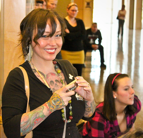 Natural Tattoos Skull on Women Chest