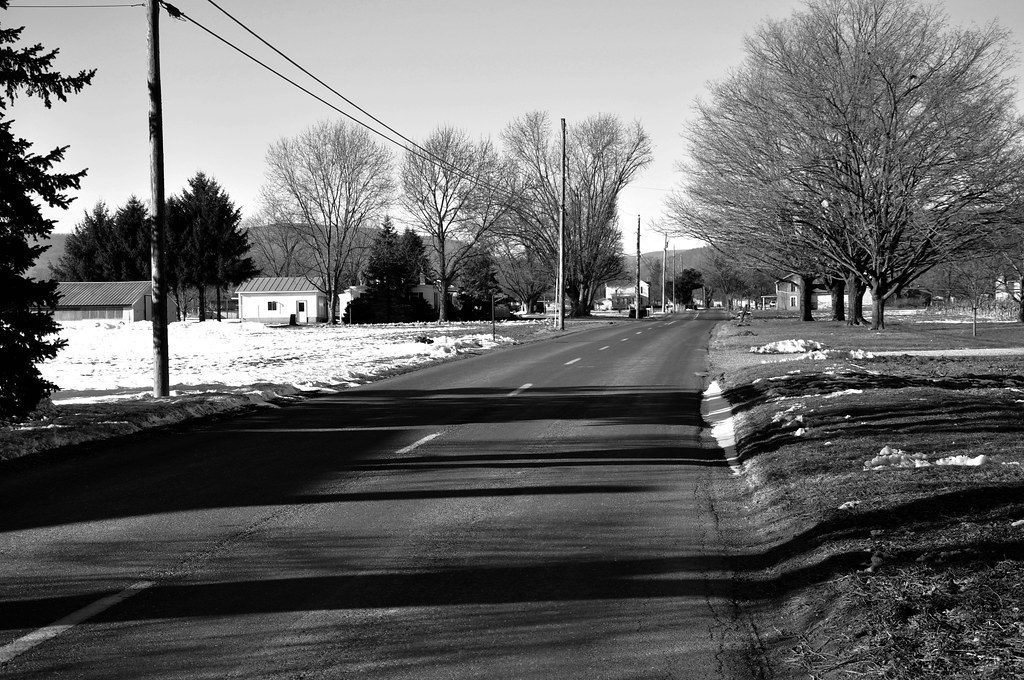 Snowy country road in Clover Hill