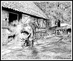 THE SUFFOLK FARRIER (Norfolkboy1) Tags: england suffolk blacksmith stipple penink rapidograph pointillism farrier originaldrawing panthonybromage