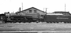 PRR Class M1 4-8-2 Number 6914.  A M1 (sorry it's so fuzzy) 4-8-2 which I think is number 6914. It has a really big tender, with eight axles.