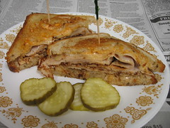Turkey reuben (Coyoty) Tags: food college turkey swisscheese sauerkraut sandwich reuben thousandislanddressing