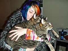 Kissing my kitties! (Megan is me...) Tags: blue original red portrait orange cats green apple colors face fashion rose lady self hair fur photography grey amazing cool mixed eyes colorful neon pretty colours russell mckay candy bright jessica fuzzy turquoise unique oneofakind ooak awesome meg violet plum megan style duke flame jacket iguana crop kitties faux jerome mandarin colored buckets dye limelight mayhem punky dyed napalm leto specialeffects sfx rosered hosen megface faceyface bluehairedfreak meganisme meganyourface