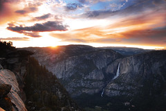 mountain high (vl8189) Tags: world park blue sunset red cloud sun mountain love nature colors beautiful rock clouds point waterfall ancient view place time god earth mother glacier falling most creation national valley yosemite setting suns mywinners