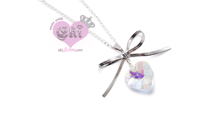 ekilove kawaii bow necklace