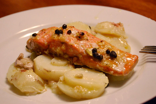 Lemon Garlic Roast Salmon on New Potatoes