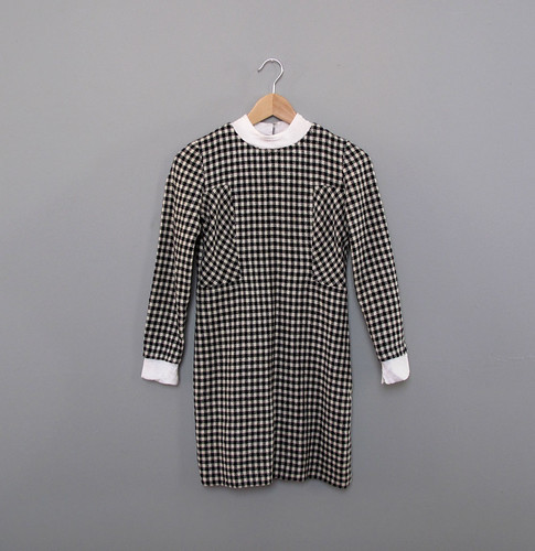 vtg houndstooth mini dress
