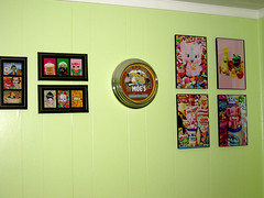 Back wall of kitchen (SnitchesGetStitches) Tags: food art clock kitchen artwork colorful simpsons pop aceo prints elephants boopsiedaisy dadadreams