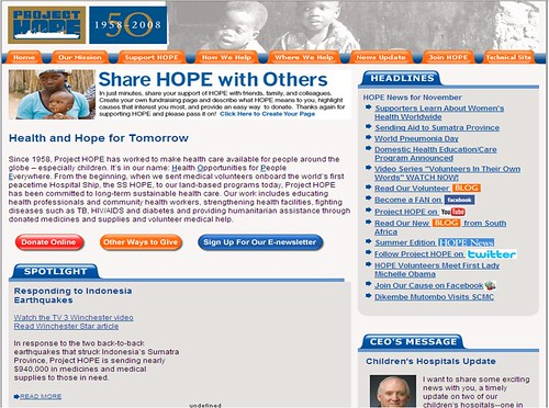 Project Hope homepage: BEFORE
