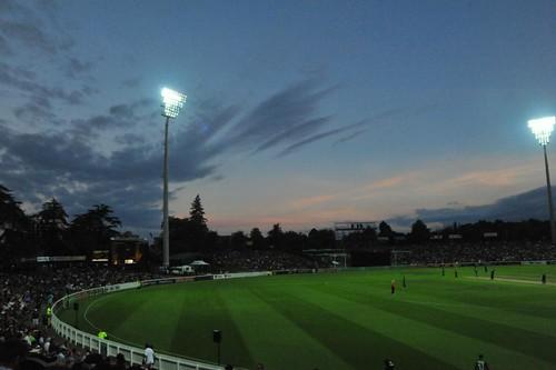 Sunset over the New Zealand vs Bangladesh Twenty 20 cricket in Hamilton