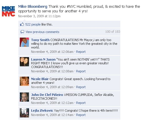 Supporters engaged with the Mayors team via Facebook.