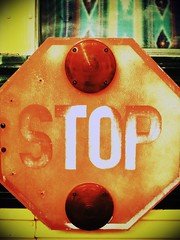 Stop (Jason L. Parks) Tags: street red urban bus sign lomo lomography birmingham aztec curtain alabama streetphotography stop weathered schoolbus vignette 3gs iphone iphoneography jasonlparks