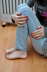 Pretty (Artistic Feet) Tags: pictures pink colour cute feet girl female asian foot three model pretty purple bright artistic bare small curves smooth polish arches pale size jeans nails photographs barefoot heels soles petite ankles feminin ubersexy
