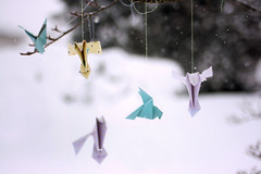 O no, she said, you can't say just anything to the wind. Only the deepest secrets will do. (Rebecca Tabor Armstrong) Tags: trees winter stilllife snow tree birds paper snowflakes wings origami branch dof pigeons flight string blizzard urbanbirds doves 35mmf20