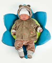 Meet My Nephew (Sergiu Bacioiu) Tags: bear blue sleeping baby white flower green beautiful hat little sweet sleep small young isolated dominic alexandru