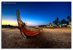 Kovalam Beach Blue (DanielKHC) Tags: blue sunset sea india beach digital boat interestingness high sand nikon dynamic kerala explore hour 27 range fp frontpage hdr trivandrum blending kovalam d300 thiruvananthapuram danielcheong danielkhc tokina1116mmf28