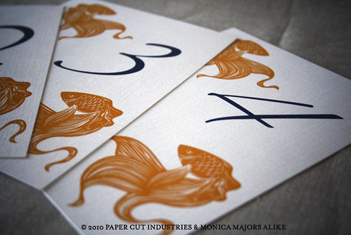 {Goldfish Wedding Stationery Suite} Table Numbers