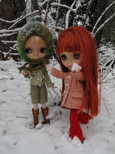 Lemon and Audrey in the snow.