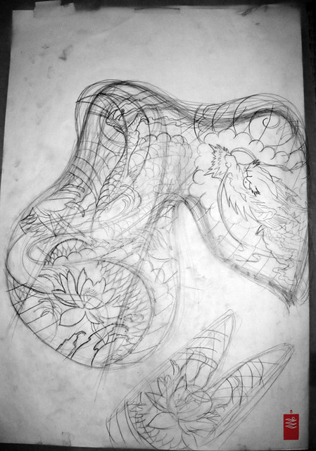 Black and grey dragon tattoo sleeve first draft