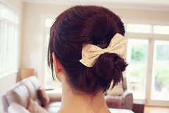my hair (pearled) Tags: hair hairstyles hairbun updo hairbow weddinghair alannahhill weddinghairstyle audreyhepburnhair alannahhillhairbow alannahhillbow audreyhepburnupdo