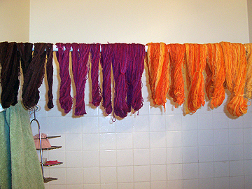 a rainbow of yarn hanging of the shower rod. Which is this side of snapping.