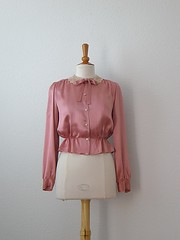 Vintage Pink Peplum Blouse w/Peter Pan Collar (seams classic) Tags: pink classic fashion vintage clothing style womens blouse peter 1940s pan etsy collar 40s seams peplum