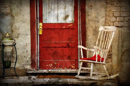 rocking chair and red door texture