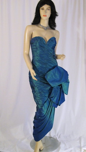 Vicky Tiel Couture Pacific Blue Silk Dramatic Hourglass Wraped Pleats & Bows Goya Dress
