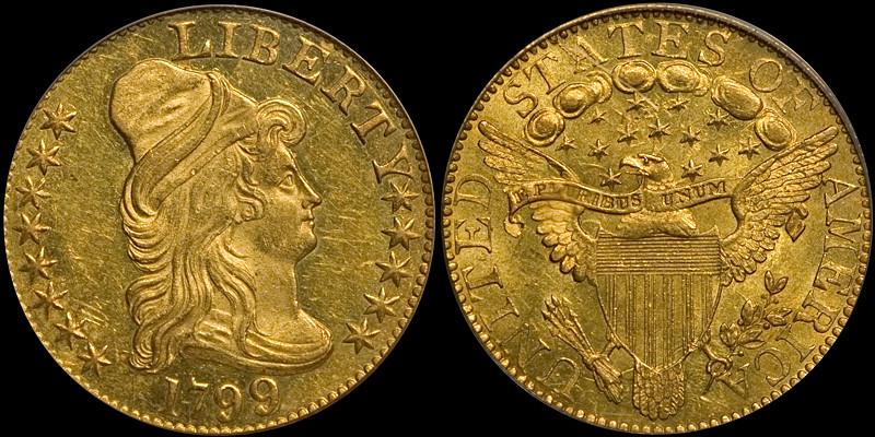 1799 $5.00 PCGS MS62, CAC