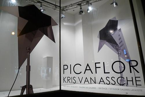 Vitrine Picaflor de Kris Van Assche, Galeries des Galeries, Paris, février 2010