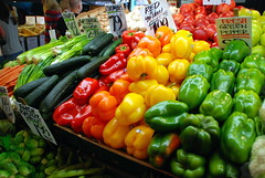 Produce stand (karenpeacock) Tags: seattle pikeplacemarket produce vegetables pepper yellowpepper orangepepper red peppergreen