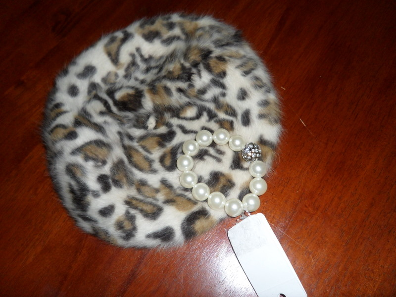 Leopard beret and pretty bracelet
