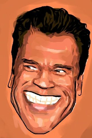 Drawing Arnold Schwarzenegger caricature with iPhone