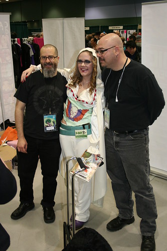 J.H. Williams III, Erica as Alice, and Greg Rucka